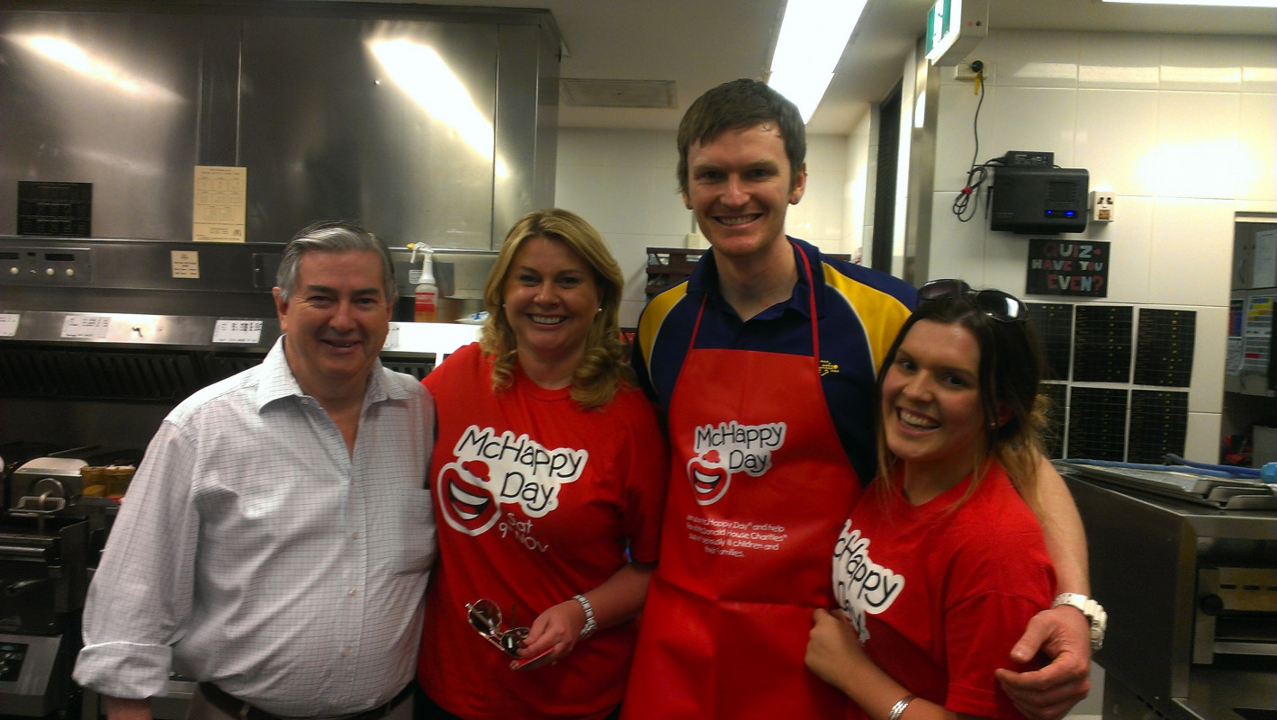 Nathanial serving it up at McHappy Day, Penrith